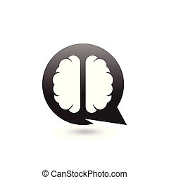 brain with Circle Talk Logo icon vector