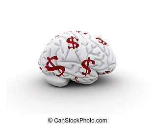 Brain with dollar signs - money on the mind