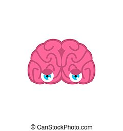 Brain with eyes isolated. Brains look. Vector illustration