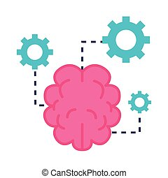 brain with gears flat style icon