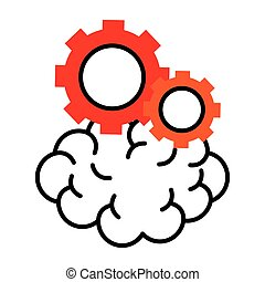 brain with gears half line style icon