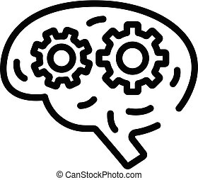 Brain with gears icon, outline style
