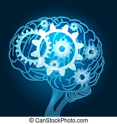 Brain with Gears Illustration
