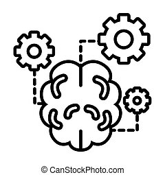 brain with gears line style icon