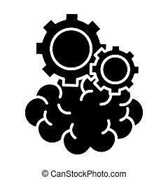 brain with gears silhouettes style icon