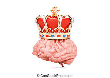 Brain with golden royal crown, 3D rendering