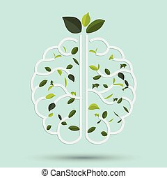 Brain with Green leaf. Gray outline vector illustration.