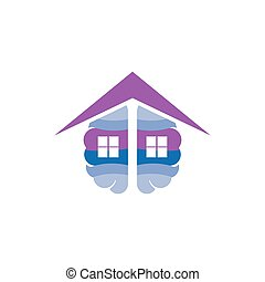 Brain with home roof logo icon vector
