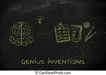 brain with idea to write down on paper, genius inventions - ...