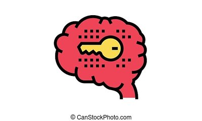 brain with key color icon animation