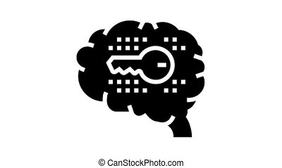 brain with key glyph icon animation