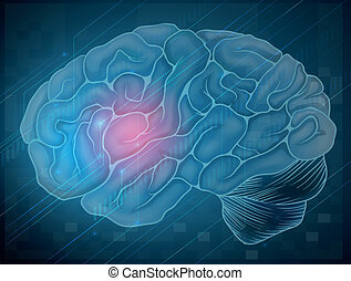 Brain with pain - Illustration of human brain with blue...