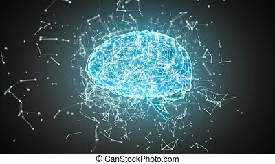Brain with polygonal connecting dots and lines against black...