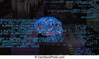 Brain with program codes and a background of a digital circuit
