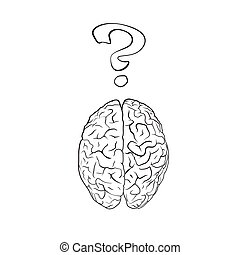 Brain with question mark. Concept. EPS10 vector.