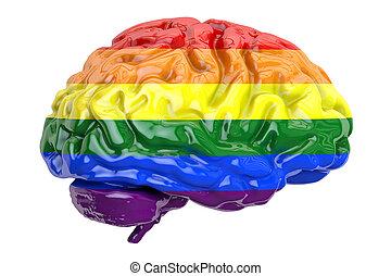 brain with rainbow gay flag, 3D rendering