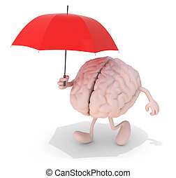 brain with red umbrella - human brain with arms, legs and...