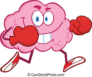 Brain With Running Boxing Gloves - Brain Cartoon Character...