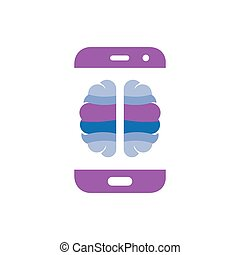 Brain with smart phone logo icon vector