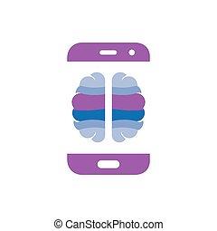 Brain with smart phone logo icon vector