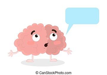 Brain with speech bubble.
