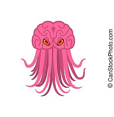 Brain with tentacles. monster Space invader. parasite Alien from space