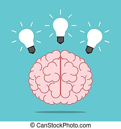 Brain with three shining light bulbs above it on turquoise blue background. Inspiration, creativity, insight and aha moment concept. Flat design. Vector illustration, no transparency, no gradients