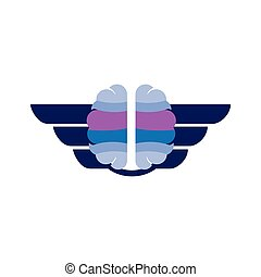 brain with wing logo icon vector