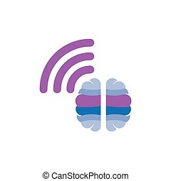 Brain with wireless logo icon vector