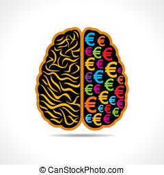 brain with yen symbol