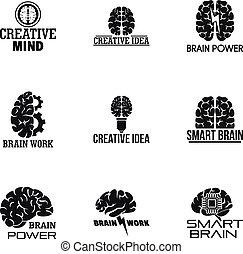 Brain work logo set, simple style
