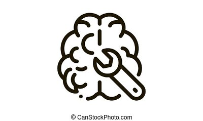 Brain Wrench Icon Animation. black Brain Wrench animated icon on white background