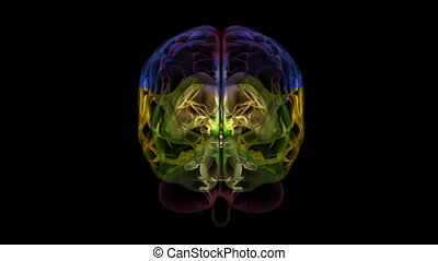 Loopable abstract brain animation. Alpha Matte. Isolated. 3d render