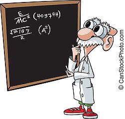 Brainiac - Cartoon scientist and chalkboard are on separate...
