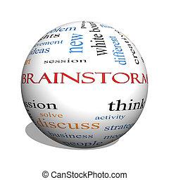 Brainstorm 3D sphere Word Cloud Concept