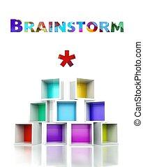 Brainstorm concept colorful 3d design illustration