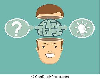 Brainstorm concept idea. Innovation and solution, vector...