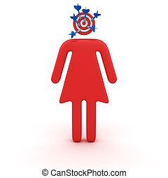 Brainstorm concept - Symbol of man with dartboard instead of...