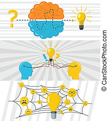 Brainstorm creative banner concept set, flat style