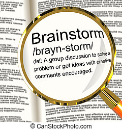 Brainstorm Definition Magnifier Shows Research Thoughts And...