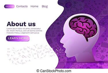brainstorm, disegno, creativo, luogo, umano, vettore, web, idea, concept., cervello, testa