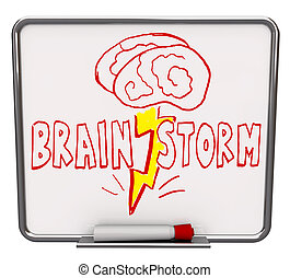 Brainstorm - Dry Erase Board with Red Marker - A white dry...