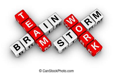 brainstorm, e, trabalho equipe
