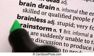 Brainstorm highlighted in the dictionary