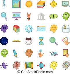 Brainstorm icons set, cartoon style