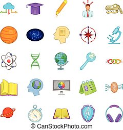 Brainstorm icons set, cartoon style - Brainstorm icons set....