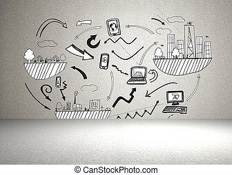brainstorm, na, ściana