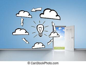 brainstorm, na, błękitna ściana, z, otwarte drzwi
