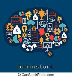 brainstorm, negócio, e, finanças, conceito, apartamento, ilustração
