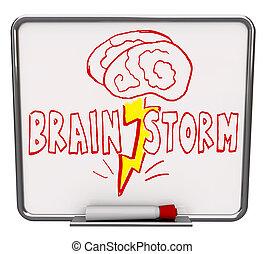 brainstorm, -, obeschnięcie wycierają deskę, z, czerwony,...